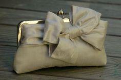 Bridal Bow Clutch Wedding Clutch Champagne Clutch by ItsSoClutch in dupioni silk