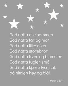 God natta poster Maren S, 2014 Interiør. Kids Room, Singing, Nursery, Songs, Education, Drawing, Night, Interior, Baby
