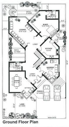 Modern House Floor Plans, Simple House Plans, Home Design Floor Plans, Duplex House Plans, House Layout Plans, Family House Plans, Flat House Design, Home Map Design, Bungalow House Design