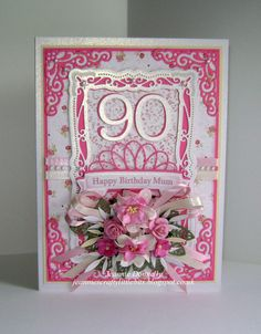 90th Birthday Card for a Mum using a lovely shade of Pink Card that I got at Hillmount, this time using Spellbinders Radiant Rectangles and Ribbon Banners, Joy Crafts Corner, Memory Box Whimsy Circle, Leaf Die and Numbers and Creative Expressions Faux Leaf. Papers from Nitwitcollections and flowers from Wild Orchid Crafts...