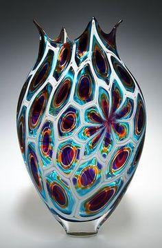 Purple/Gold/Teal Foglio: David Patchen: Art Glass Vessel - STUDIO SALE | Artful Home
