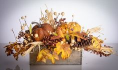 Fall Floral Arrangement with all natural pine cones decorated with designer silk berries, maples leaves, berries and corn stalk. Arrangement is set in a nice natural wood container. See matching wreat Thanksgiving Decorations, Fall Decorations, Holiday Decor, Fall Table Centerpieces, Fall Deco Mesh, Fall Flower Arrangements, Fall Halloween, Halloween Crafts, Autumn Decorating