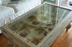 Shadow Box Table - Features & Properties : Antique Shadow Box End Table. Antique shadow box end table. Seashell Shadow Boxes, Shadow Box Coffee Table, Seashell Display, Beach House Decor, Home Decor, Coastal Decor, Seaside Decor, Beach Themes, Sea Shells