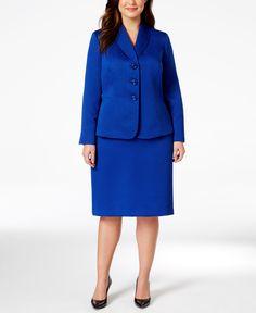 Le Suit Plus Size Shawl Collar Jacquard Skirt Suit