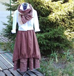 Купить №158.2 Льняная юбка-бохо - юбка бохо, бохо юбка, льняная юбка