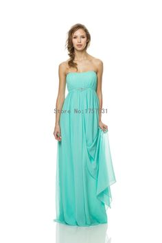 Turquoise Strapless Empire Chiffon Long Plus Size Bridesmaid Dresses  Sleeveless 2015 New Maid Of Honor Dress b622f0a6b42f