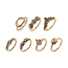 Elephant Sun Floral Moon Ring Set Golden ($30) ❤ liked on Polyvore featuring jewelry, rings, golden jewelry, golden jewellery, golden ring, set rings and floral ring