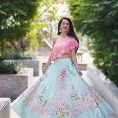 Latest Collection of Lehenga Choli Designs in the gallery. Lehenga Designs from India's Top Online Shopping Sites. Dress Indian Style, Indian Wear, Indian Attire, Party Wear Lehenga, Bridal Lehenga, Indian Wedding Outfits, Indian Outfits, Lehnga Dress, Lehenga Choli