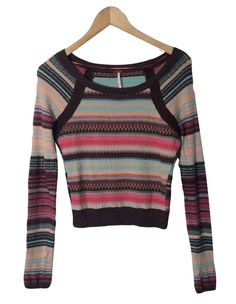 FREE PEOPLE Sweater Sz S Lightweight Striped Cotton Blend Small #FreePeople #BoatNeck #FASHIONSENSEFORCENTS