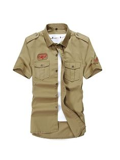 cb0afd33 US$ 27.55 - Summer Mens Military Outdoor Turn-down Collar Short Sleeved  Cotton Casual
