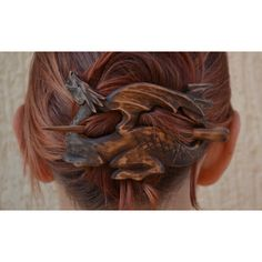Wood Dragon Hair Barrette, Gift for Her, Hair Stick, Wood Carving,... ($48) ❤  This is amazing! I want one!