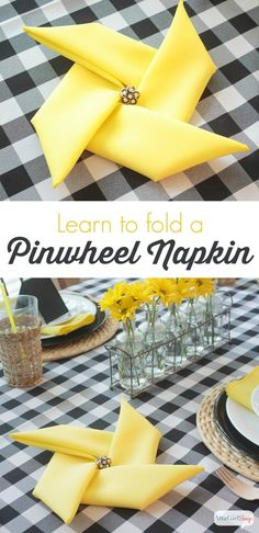 napkin folding, napkin folds, party decorations - Quick and easy video tutorial on how to fold napkins into a pinwheel shape. This trick works with cloth napkins or paper napkins. Such a fun touch for a summer party or a carnival theme event. Paper Napkin Folding, Yellow Table, Cloth Napkins, Napkin Rings, Diy And Crafts, Easy Crafts, Table Settings, Setting Table, Place Settings