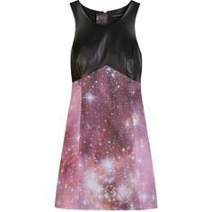 OUTER SPACE MOTIF MINI SHIFT DRESS ($1,260) ❤ liked on Polyvore featuring dresses, vestidos, space, women, leather dress, purple dress, short mini dress, leather mini dress and galaxy print dress