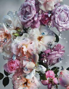 Lush freshly-cut garden roses, sprinkled with dewdrops of Swarovski crystal