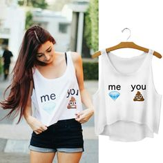 2015 Fashion Cute Women Sexy Crop Tops White Emoji Tank  Tops T Shirt Blouse #tank #croptop #crop #top #emoji #rave