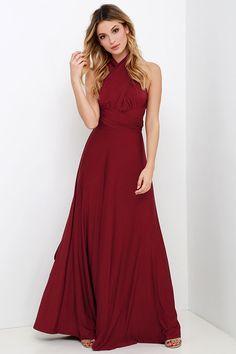 Always Stunning Convertible Burgundy Maxi Dress at Lulus.com!                                                                                                                                                     More