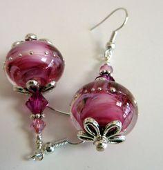 Raspberry Swirl Earrings Glass Beaded Handmade by Elegencebyelaine, $30.00