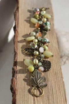 Boho Apple Green Jade Gemstone/Vintage by studiogracie on Etsy