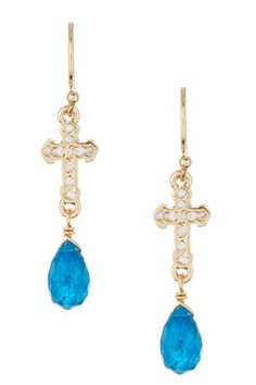 Pave CZ Cross Apatite Earrings by Vivian Tamayo on @HauteLook