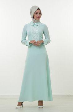 İpekdal Lazer Kesim Detaylı Elbise-Mint Ekru 3614-2452