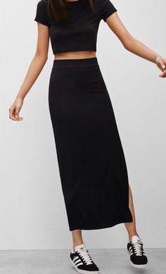 Le Fashion Blog 25 Ways To Wear Adidas Sneakers Crop Top Tee High Waist Maxi Skirt Black With White Stripes Via Aritzia