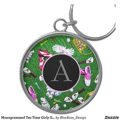 Monogrammed Tee Time Girly Golf Keychain Custom Buttons, Key Chains, Keep It Cleaner, Colorful Backgrounds, Cool Designs, Golf, Monogram, Tees, Prints