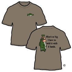 """""""Mine's So Big I Have To Hold It With 2 Hands"""" Fishboy Fishing T-shirt  $19.95  Humor at it's best!!  bass fishing clothes, bass fishing, bass fishing shirt"""