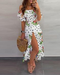 Shop Dot floral Print Thigh Slit Casual Dress right now, get great deals at bellewholesale Cute Dresses, Casual Dresses, Fashion Dresses, Floral Dresses, Maxi Dresses, Resort Dresses, Trend Fashion, Fashion Women, Holiday Dresses