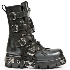 cf8b52fe £116.99 New Rock Boots - 591 - Silver Flame Mid Calf Boot Steampunk Boots,