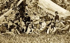 "George ""Autie"" Custer (center), wife Libbie (to his right) and 7th Cavalry officers and their wives enjoy a picnic near Fort Abraham Lincoln in North Dakota a year before the 1876 disastrous Battle of Little Big Horn."