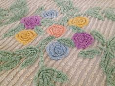 Vintage 1950s Chenille Bedspread Pink Flowers Floral Border Plush Large | eBay