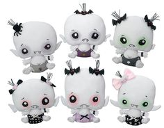 Vamplets are a collection of plush baby vampire dolls. The names of the first six dolls to launch are Cadaverson Nightshade, Lilyrose Shadowlyn, Count Vlad Von Gloom, Evilyn Nocturna, Burton Creepson, Jr., and Midnight Mori. The dolls retail for $15.95 each. The first shipment of Vamplets will arrive on March 24th. There are also little bottles of blood you can buy for the creepy, hungry vampire babies.