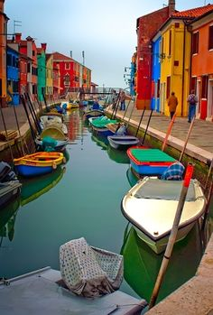 Burano, Italy (photography, photo, picture, image, beautiful, amazing, travel, world, places, river, colourful boats, landscape)