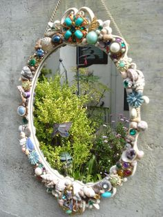 Wall mirror or vanity tray Mermaid princess mirror sea shells with vintage jewels (sold)