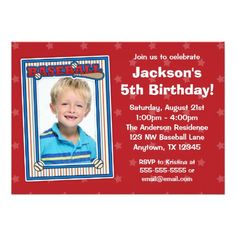 Baseball Photo Birthday Party Red Stars Invitation
