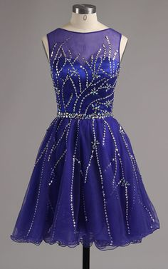 Purple A Line Scoop Neckline Satin Tulle Mini Beading Short Homecoming Dress