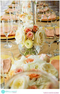 Peach and gold wedding table decorations. Tropical DMC Turks and Caicos. Brilliant Studios.