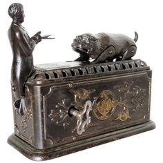 View this item and discover similar for sale at - Of all known mechanical banks this is one of the more interesting methods by which the coin is deposited into the bank. Antique Clocks, Antique Toys, Vintage Toys, Steampunk Dolls, Penny Bank, Savings Bank, Money Box, Tin Toys, Cast Iron