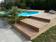 Terrasse bois et piscine Pools For Small Yards, Pool House Designs, Old Port, Pool Houses, Four Square, New Homes, Farmhouse, Design Ideas, Backyard