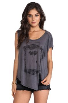 Free People San Tropez Graphic Tee in Charcoal Combo