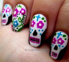 Dia de los Muertos by fingerfood - Nail Art Gallery nailartgallery.nailsmag.com by Nails Magazine www.nailsmag.com #nailart