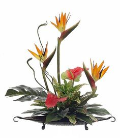 bird of paradise flower arrangement | Tropical Silk Flower Arrangement with Bird of Paradise & Anthurium on ...
