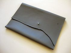 iPad case - Smooth gray leather
