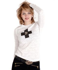 Look what I found on #zulily! White Cross Burnout Crewneck Top by Cino #zulilyfinds
