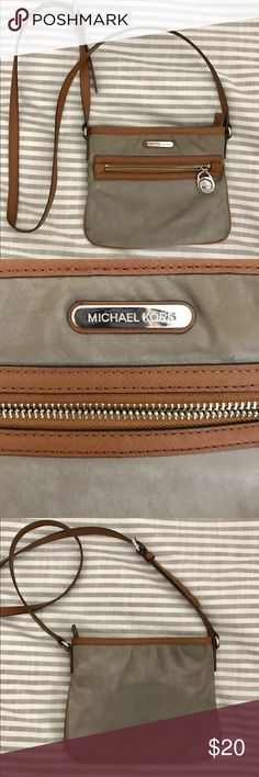 Michael Kors Cross Body Bag OK condition - grey with brown and gold detailing, great for going out KORS Michael Kors Bags Crossbody Bags