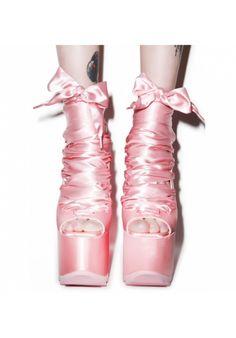 Y.R.U. X Dolls Kill Ballet Bae Satin Platforms   Dolls Kill