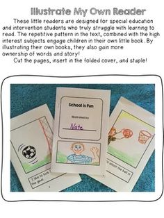 Flash Freebie! Please leave feedback....these little books are great for back to school and beginning readers! SPECIAL EDUCATION ILLUSTRATE MY OWN READER - TeachersPayTeachers.com