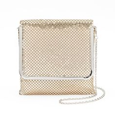 Gunne Sax by Jessica McClintock Isabelle Mesh Clutch (€32) ❤ liked on Polyvore featuring bags, handbags, clutches, beige oth, beige purse, print handbags, metallic handbags, handbag purse and mesh purse