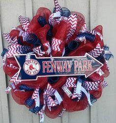 Boston Red Sox Deco Mesh Wreath!!! https://www.facebook.com/WreathsByJackieDevlin