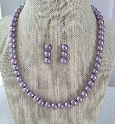 Purple Pearl Necklace Lilac Bridesmaid Wedding Jewelry by CherishedJewelryCo